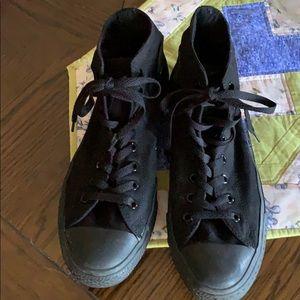 Black on black Converse high tops size 10.5
